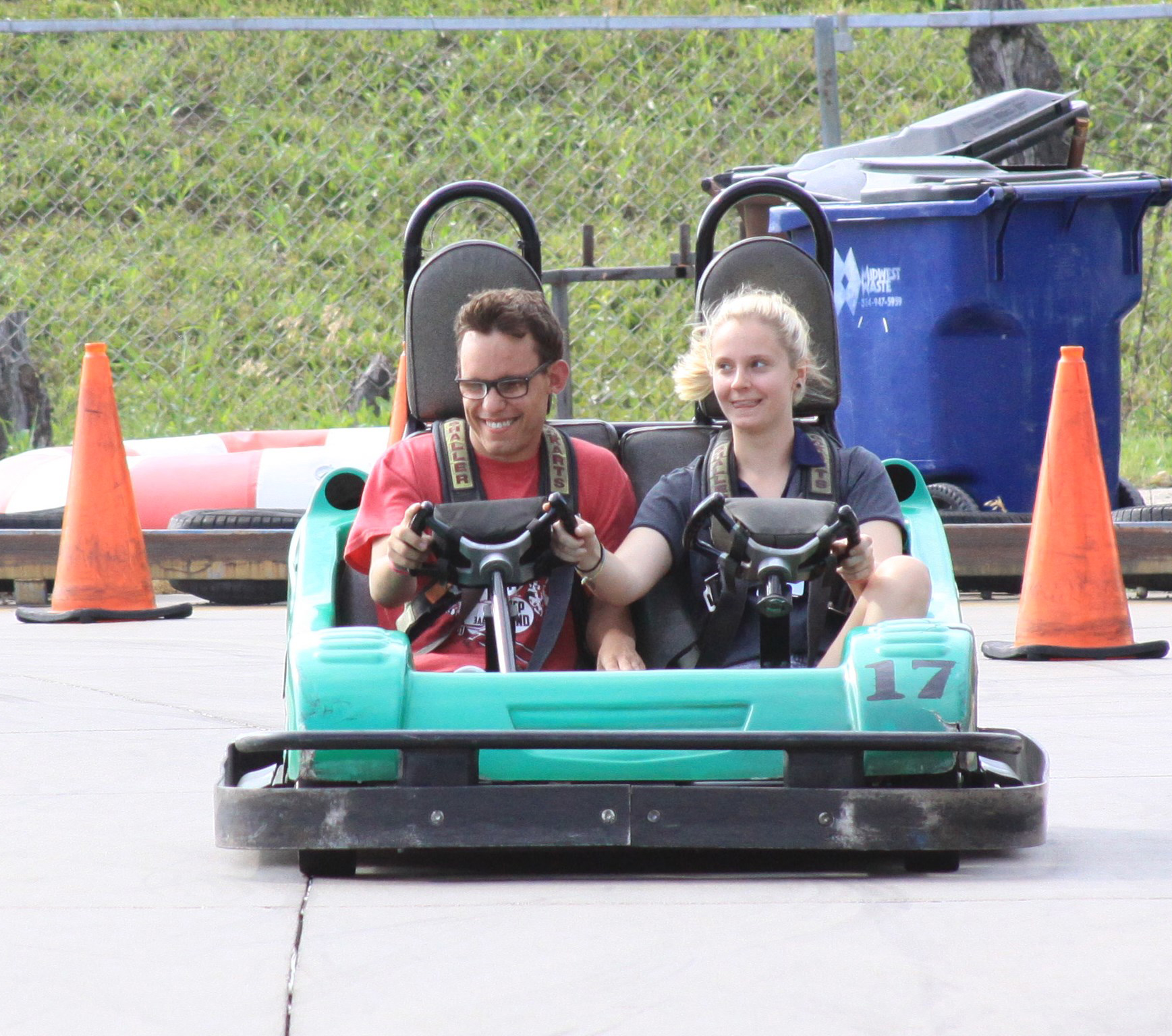 Justin Excitedly Drives A Go Cart Around The Track At Swing Around Fun Time During One Of SOAR's Many Nightly Excursions.